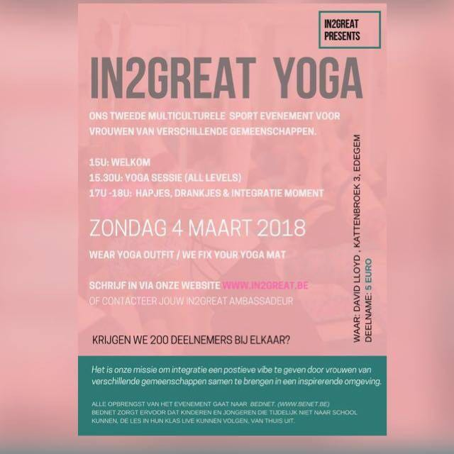 CHARITY YOGA EVENT By IN2GREAT Association From 300 To 600pm At David Lloyd Kattenbroek 3 Edegem Belgium